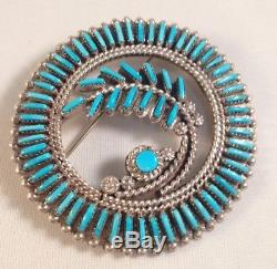 Native American Zuni Handmade Turquoise Needlepoint Sterling Silver Pin/Pendant