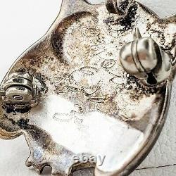 Native American Zuni Jewelry Sterling Silver Inlay Hoot Owl Pendant Brooch Pin