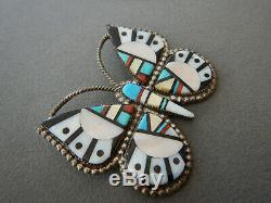 Native American Zuni Multi-Stone Inlay Sterling Silver Butterfly Pendant Pin OC