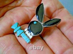 Native American Zuni Multi-Stone Inlay Sterling Silver Playboy Bunny Pin tie tac