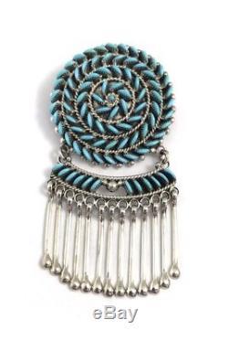 Native American Zuni Needle Point Sleeping Beauty Turquoise Pin Pendant