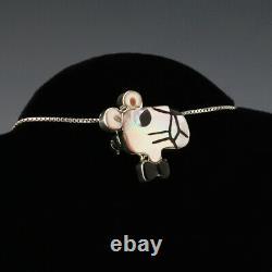 Native American Zuni Pink Panther Pin/pendant By Paula Leekity