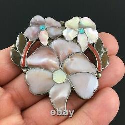 Native American Zuni Silver Inlay Flower Pendant Pin Anselm & Rosita Wallace