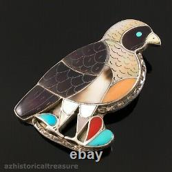 Native American Zuni Silver Mosaic Bird Pin Pendant Porfilio & Ann Sheyka