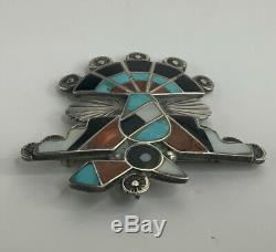 Native American Zuni Silver Mosaic Inlay Thunderbird Pin Brooch