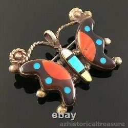 Native American Zuni Silver Multi-stone Inlay Butterfly Pendant Pin Brooch