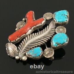 Native American Zuni Silver Natural Turquoise & Coral Pin Brooch Dan Simplicio