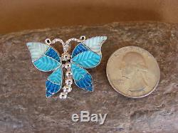 Native American Zuni Sterling Silver Inlay Butterfly Lapis Opal Pin/Pendant Qu