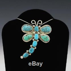 Native American Zuni Turquoise Dragonfly Pendant/pin By Diane Lonjose