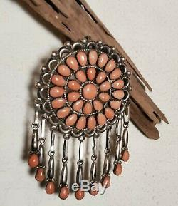 Native American Zuni angel skin coral pin/pendant. Patsy Weebothee