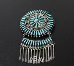 Native Americn Hopi Brooch Turquoise Sterling Silver Pin SIGNED