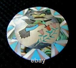 Native Zuni Sterling Silver Multi-Stone Hummingbird Inlay Pendant/Pin Signed