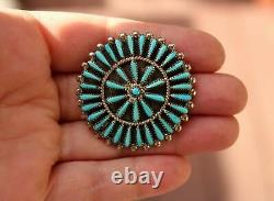 Native Zuni Wallace Vintage Cluster Turquoise Needlepoint Sterling Pin Pendant