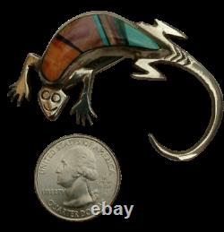 Navajo 925 Sterling Silver Multi Stone Inlay Stampwork Lizard Pin Signed Fy
