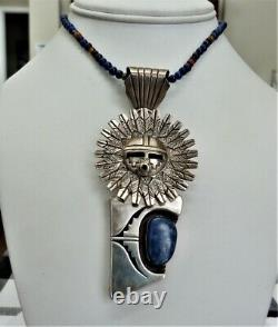 Navajo Bennie Ration Sterling Silver Sunface Lapis Pendant / Pin Bead Necklace