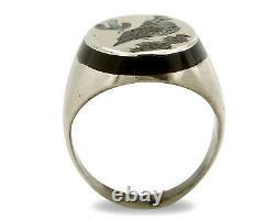 Navajo Bird Ring. 925 Silver Inlaid MOP & Pin Shell Artist Watchman C. 80's