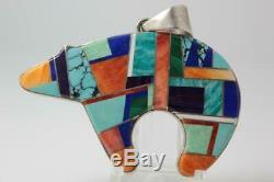 Navajo Calvin Begay 925 Sterling Silver Multi Stone Medicine Bear Pin Pendant