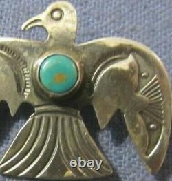 Navajo Coin Silver Thunderbird Pin Native American Old Pawn Turquoise Brooch