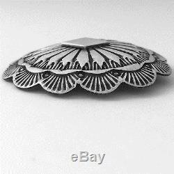 Navajo Concho Brooch Tom Lewis Sterling Silver Vintage Signed TL Pin 1.5 inch 7g