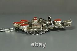 Navajo Coral Yei Kachina Pendant Pin Sterling Silver chain Doris Smallcanyon