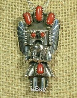 Navajo Coral Yei Kachina Sterling Silver Pendant Pin Signed Doris Smallcanyon