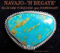 Navajo'H. BEGAYE'Large Blue Gem Sterling Pin/Pendant