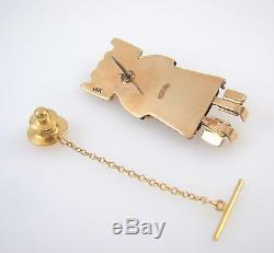 Navajo Handmade Solid 14k Yellow Gold & Onyx Kachina Tie Tack Pin RS BXX