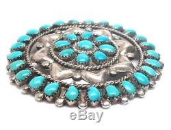 Navajo Handmade Sterling Silver Turquoise Cluster Pendant & Pin -H. V