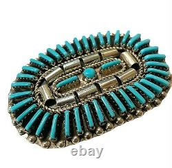 Navajo Handmade Sterling Silver Turquoise Cluster Pin/Pendant Harrison Harry