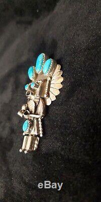 Navajo Handmade sterling Silver Turquoise Kachina Pendant/pin -Doris Smallcanyon