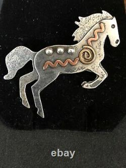 Navajo Horse Pendant Pin Sterling Silver By Artist 471