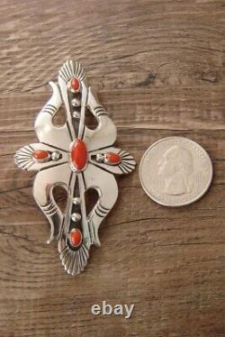 Navajo Indian Jewelry Sterling Silver Coral Pin/Pendant by Lee Charley