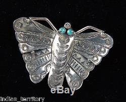 Navajo Indian Silver Butterfly Pin with Turquoise Eyes