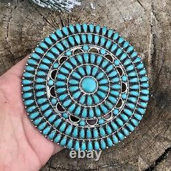 Navajo Jumbo Sterling Silver & Turquoise Cluster Pendant/pin Signed
