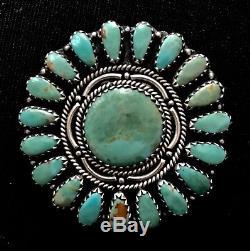 Navajo LMB Larry Moses Begay Sterling Sunburst Turquoise Brooch Pin Pendant