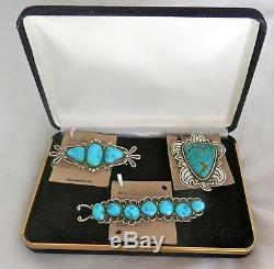 Navajo Lee Charley Sterling Silver Morenci Turquoise Pin