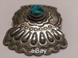 Navajo Morenci Turquoise Sterling Silver Large Brooch Pin Wallace Yazzie Jr Sign