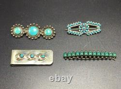 Navajo Native American Collection Sterling Turquoise Pins Money Clip & Barrette