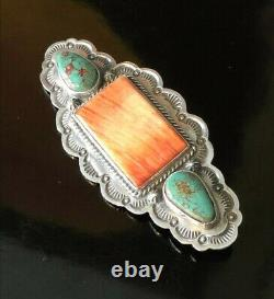 Navajo Native American Turquoise & Spiny Oyster Shell Brooch Signed Gary Reeves