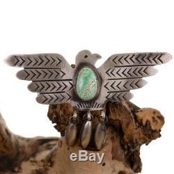 Navajo Necklace Pendant CARICO LAKE Turquoise Thunderbird Old Stl EMMA JOHNSON