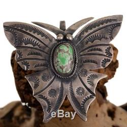 Navajo Necklace Pendant GEM CARICO LAKE Turquoise BUTTERFLY Old Pawn Style Pin