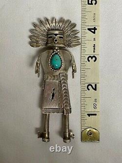 Navajo Neslon Morgan Native American Kachina Sterling Silver Figure
