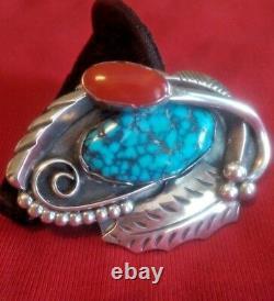 Navajo Platero Pin Spiderweb Turquoise/Coral Signed Collectible Native America