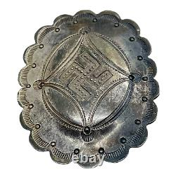 Navajo Pre 1940 Sterling Silver Whirling Logs Southwest Concho Pin Brooch