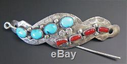 Navajo Rp Signed Turquoise Red Coral Sterling Silver Pin Hair Barrette