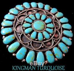Navajo SW3 Round LargeKingman Turquoise/925Brooch/Pendant