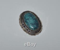 Navajo Signed Irv Sterling Silver And Spider Web Turquoise Pin Brooch Pendant