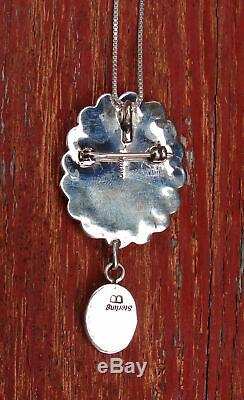 Navajo Silver Spiny Oyster Turquoise Pendant Pin with 24 Inch Silver Chain