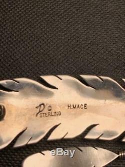 Navajo Silversmith Harvey Mace Signed Sterling & Malachite Twin Feathers Pin