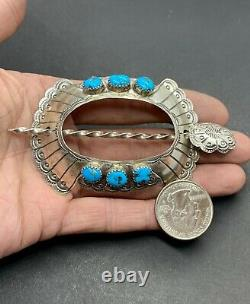 Navajo Southwestern Sterling Silver Turquoise Hair Pin Barrette Pony Tail Holder